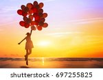 happiness or dream concept ... | Shutterstock . vector #697255825