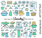 vector set with hand drawn... | Shutterstock .eps vector #697257565