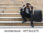 unemployed businessman stress... | Shutterstock . vector #697261375