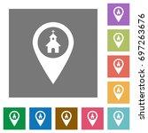 church gps map location flat... | Shutterstock .eps vector #697263676