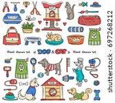vector set with hand drawn... | Shutterstock .eps vector #697268212