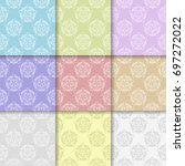 set of multi colored floral... | Shutterstock .eps vector #697272022
