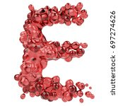 letter e made of bubbly red... | Shutterstock . vector #697274626