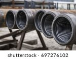 drill pipe inspection. | Shutterstock . vector #697276102