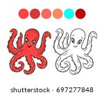 octopus. coloring book design... | Shutterstock . vector #697277848