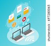 isometric wireless network... | Shutterstock .eps vector #697280065