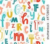 cute english hand written... | Shutterstock .eps vector #697280515