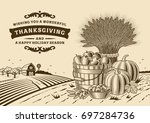 vintage thanksgiving landscape... | Shutterstock .eps vector #697284736