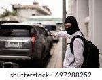 robber in black mask  robbery... | Shutterstock . vector #697288252