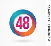 stylized number 48 design... | Shutterstock .eps vector #697289512