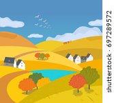 autumn outdoors landscape.... | Shutterstock .eps vector #697289572