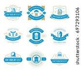 oktoberfest celebration beer... | Shutterstock .eps vector #697293106