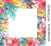 frame. abstract flowers and... | Shutterstock . vector #697293655
