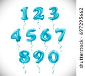 vector turquoise blue number 1  ...   Shutterstock .eps vector #697295662