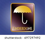 gold badge or emblem with...   Shutterstock .eps vector #697297492