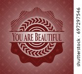 you are beautiful badge with...   Shutterstock .eps vector #697297546