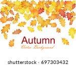 autumn leaves falling vector... | Shutterstock .eps vector #697303432
