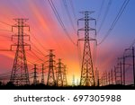 silhouette high voltage... | Shutterstock . vector #697305988