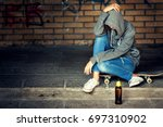 lonely teenager girl sitting in ...   Shutterstock . vector #697310902