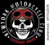 skull t shirt graphic design | Shutterstock .eps vector #697312078