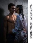 beautiful sexy couple enjoying...   Shutterstock . vector #697312696