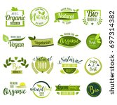 set of hand drawn stickers ... | Shutterstock .eps vector #697314382