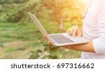 man reading news on the digital ... | Shutterstock . vector #697316662