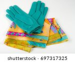 leather gloves and silk scarf   Shutterstock . vector #697317325
