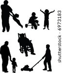 Set of six vector silhouettes, includes man in rocking chair, boy mowing lawn, child at play, father and child - stock vector