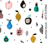 seamless pattern with creative... | Shutterstock .eps vector #697319086