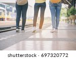group of beautiful traveler... | Shutterstock . vector #697320772