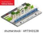 isometric train station... | Shutterstock .eps vector #697343128