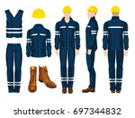 man worker in uniform.... | Shutterstock .eps vector #697344832