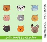set of animal head | Shutterstock .eps vector #697345495