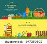 vegetable garden items at grass.... | Shutterstock .eps vector #697350502