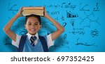 smiling schoolboy carrying... | Shutterstock . vector #697352425