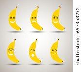 set of six creative banana...   Shutterstock .eps vector #697353292