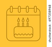 birthday date linear icon.... | Shutterstock .eps vector #697358968