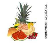 exotic tropical fruits isolated ...   Shutterstock .eps vector #697365766