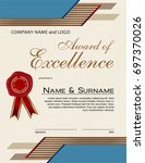 award of excellence with wax... | Shutterstock .eps vector #697370026