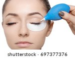 young woman with eyes closed... | Shutterstock . vector #697377376