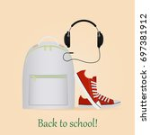 back to school. image with... | Shutterstock .eps vector #697381912