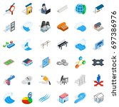 electricity icons set.... | Shutterstock .eps vector #697386976