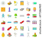 electricity robot icons set.... | Shutterstock .eps vector #697386985