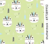 seamless pattern with cute... | Shutterstock .eps vector #697389952
