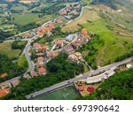 view of the village from the... | Shutterstock . vector #697390642