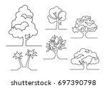 set of trees   continuous line... | Shutterstock .eps vector #697390798