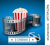 popcorn for movie theater and... | Shutterstock .eps vector #697391296