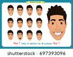 set of male facial emotions.... | Shutterstock .eps vector #697393096