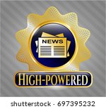 gold badge or emblem with...   Shutterstock .eps vector #697395232